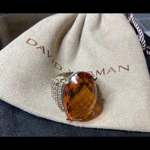 David Yurman Honey Citrine Wheaton 16X26 Ring 6.75